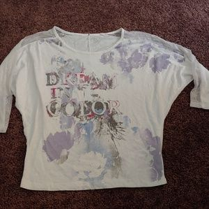 "SO ""dream in color"" white& purple 3/4 sleeve top"